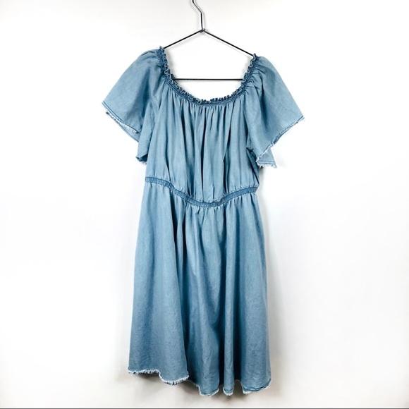 Lane Bryant Dresses & Skirts - Lane Bryant Denim Chambray Off the Shoulder Dress